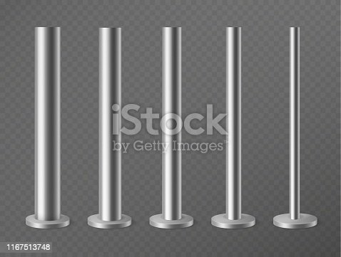 Metal pillars. Steel poles for urban advertising banners, streetlight and billboard. Steel columns in round section 3d vector pipes vertical mockup stand set