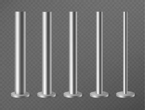금속 기둥. 도시 광고 배너, 가로등 및 광고판용 강철 기둥. 원형 단면 3d 벡터 세트의 강철 기둥 - 기둥 stock illustrations
