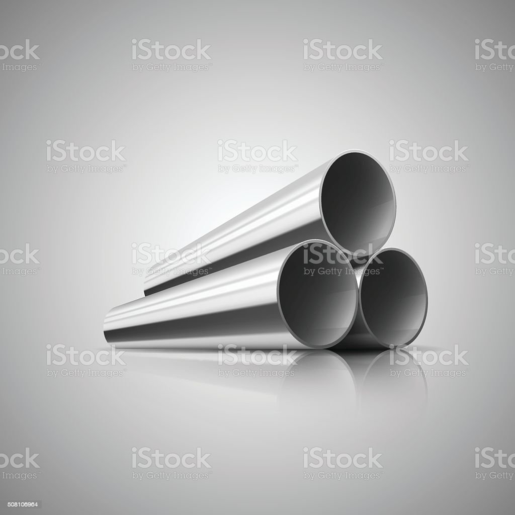 Metal pipes vector art illustration