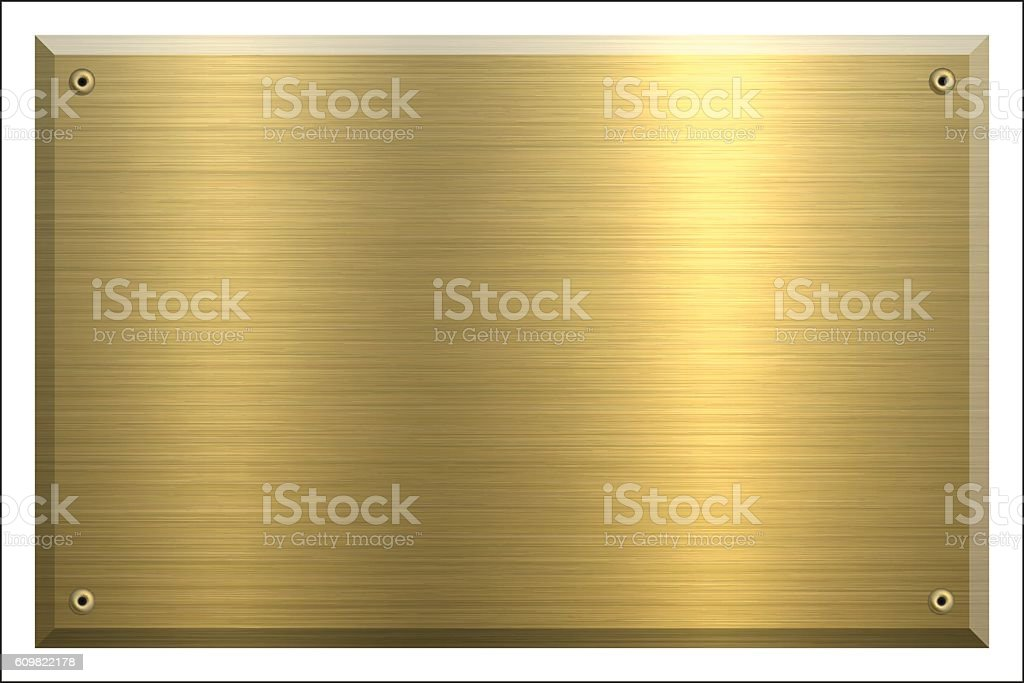 Metal Plate Gold - Brushed metal background vector art illustration
