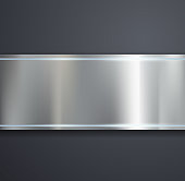A metal plate on a gray background. Vector image.