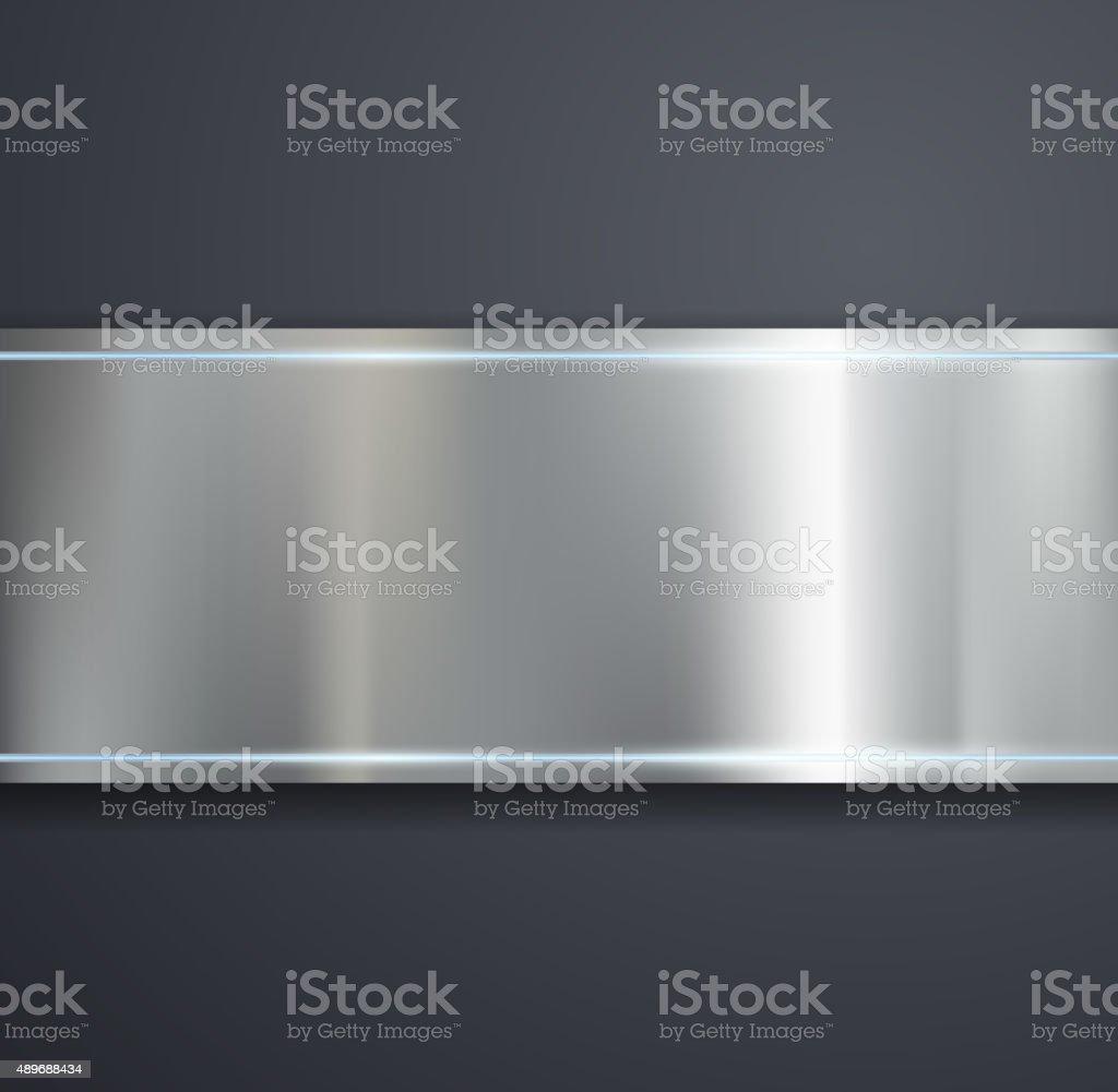 Placa de metal sobre Fundo cinza. - ilustração de arte em vetor