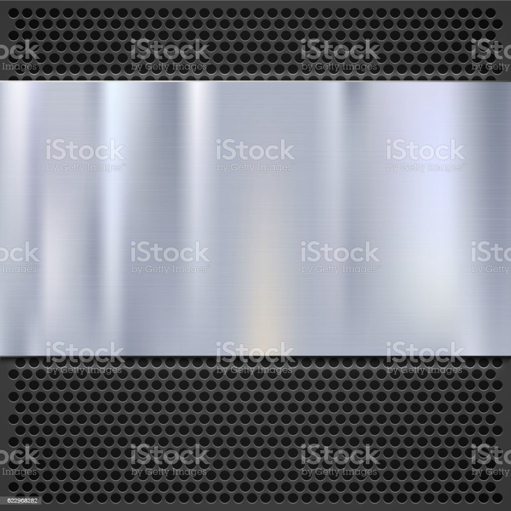 Metal plate over grate texture, stainless steel vector art illustration