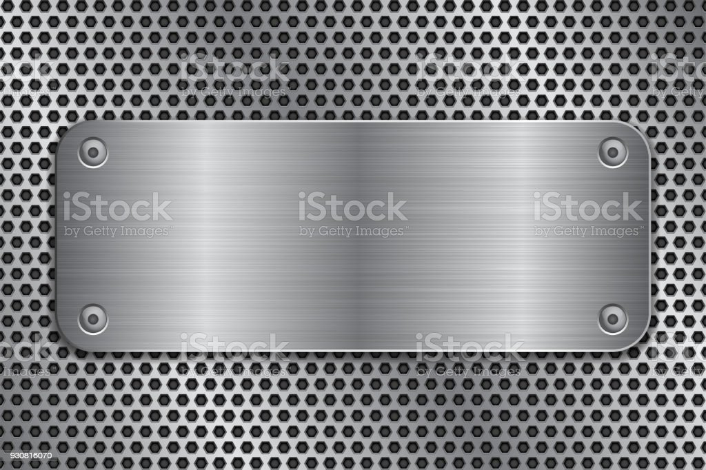 Metal plate with screws on perforated texture vector art illustration