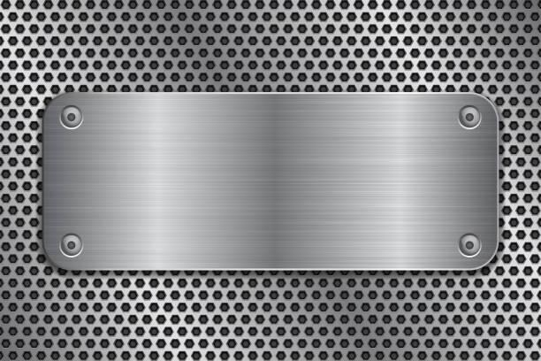 Metallplatte mit Schrauben auf perforierten Textur – Vektorgrafik