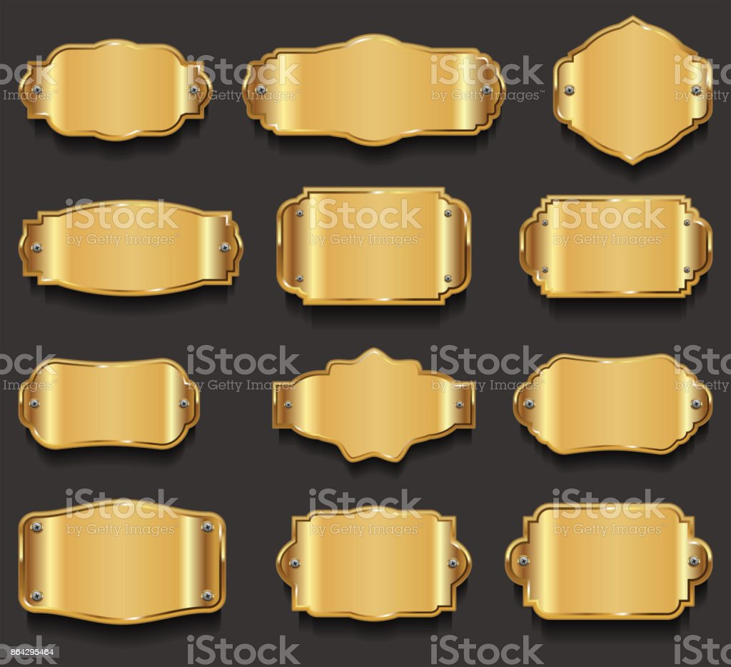 Metal plates premium quality golden collection royalty-free metal plates premium quality golden collection stock vector art & more images of antique