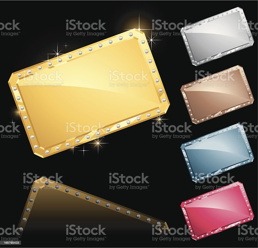Metal Plates with Gems royalty-free stock vector art