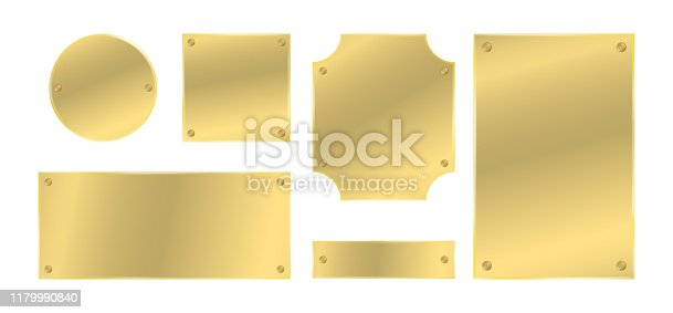 Metal plates with rivets set. Golden colored badges. Vector design elements