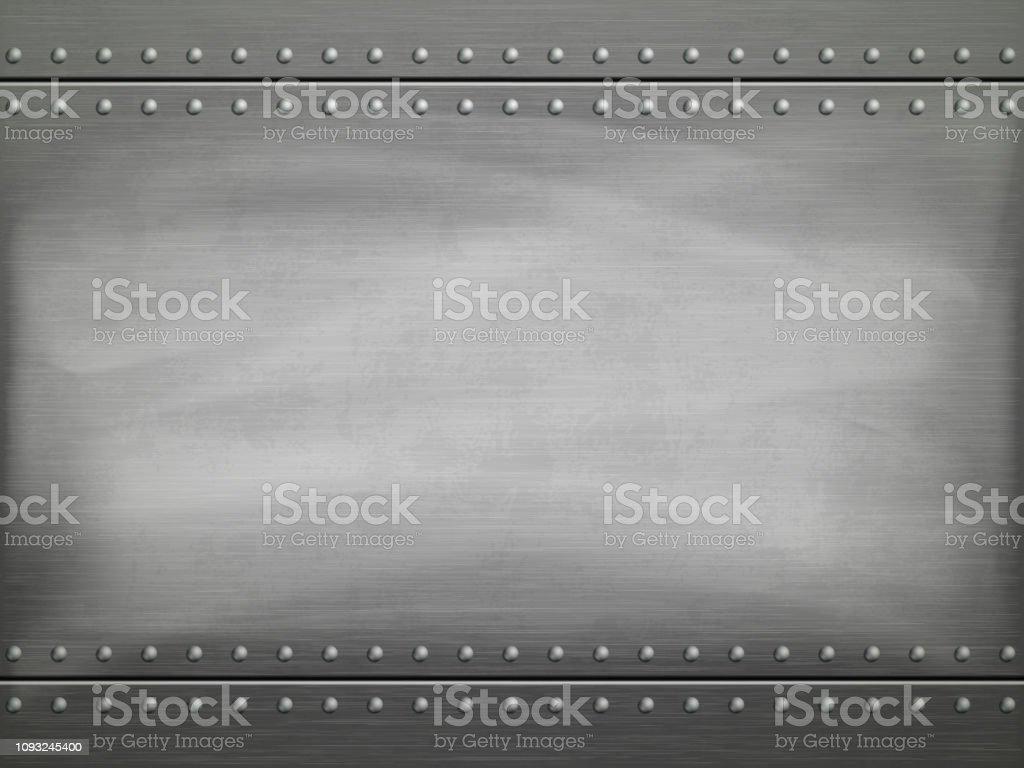 Metal pulido placa con rasguños. Fondo de vector. ilustración de metal pulido placa con rasguños fondo de vector y más vectores libres de derechos de acero libre de derechos