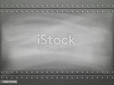istock Metal polished plate with scratches. Vector background. 1093245400