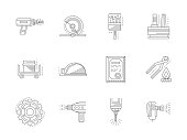 Metal processing flat line vector icons set
