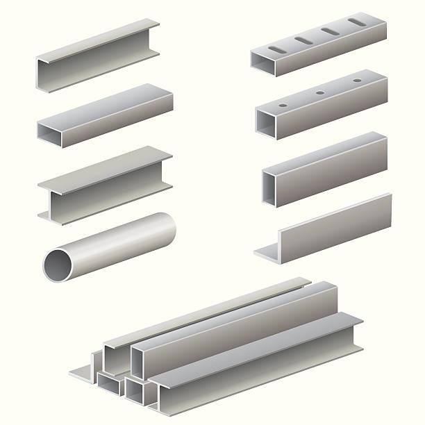 Metal profile and tubes Metal profile and tubes isolated on white background,vector EPS 10. girder stock illustrations