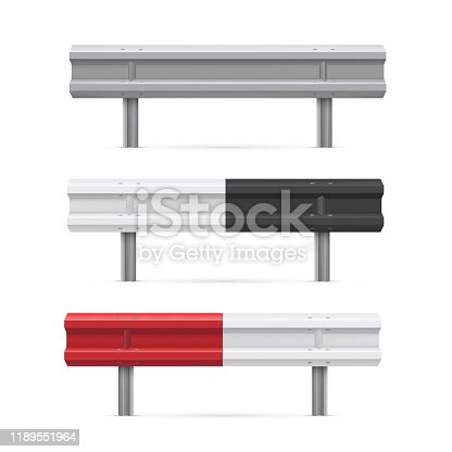 Metal road barriers flat vector illustrations set. Red, black, white traffic safety equipment. Metallic guarding rails isolated on white background. Roadside obstacles, limiting bars