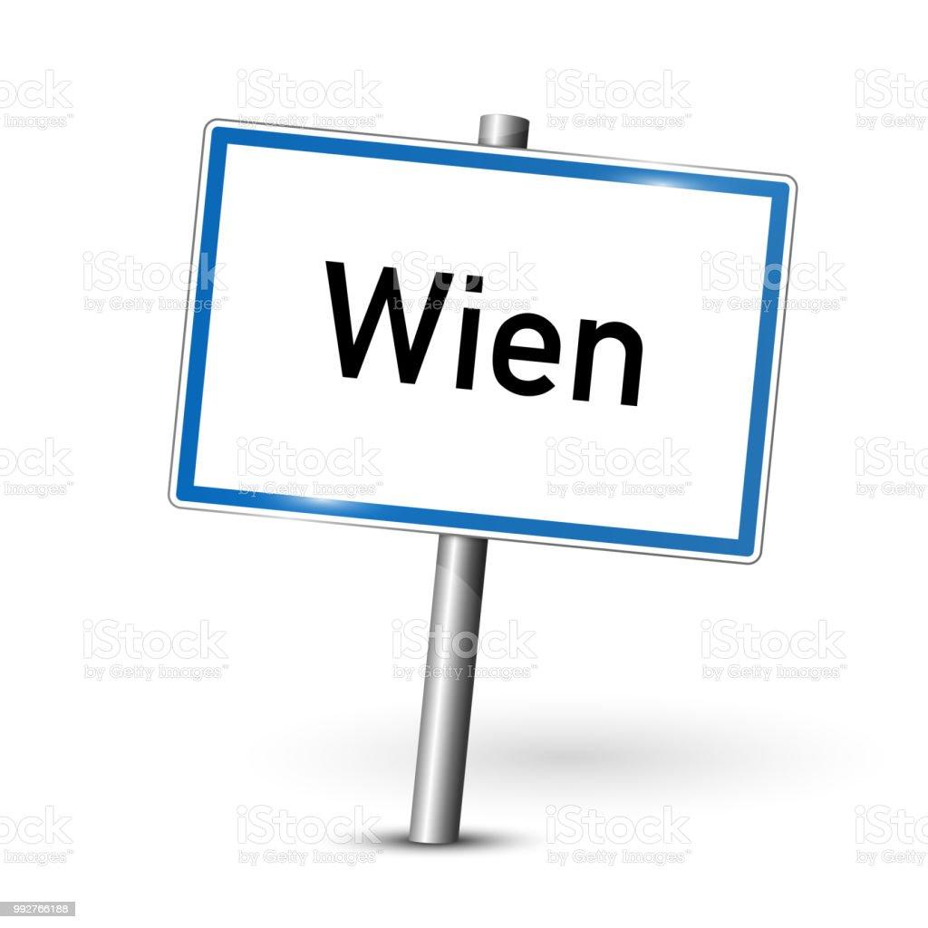 Metall Schild - Hauptstadt Wien - Signage Vienna - Österreich – Vektorgrafik