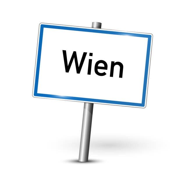 metall schild - hauptstadt wien - signage vienna - österreich - straßenschilder stock-grafiken, -clipart, -cartoons und -symbole