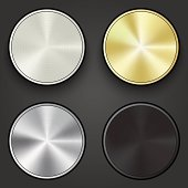Metal round buttons, vector