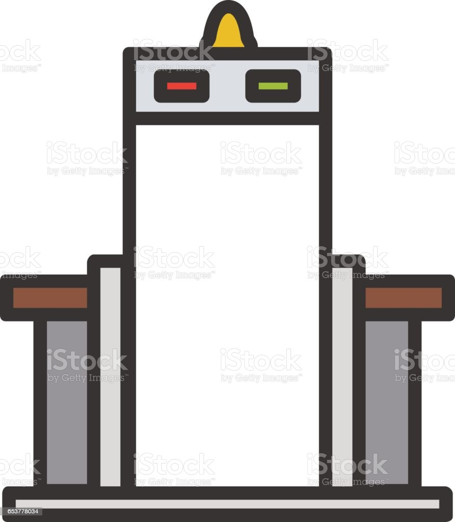 Metal scanner gate color icon. Isolated vector illustration on white background. vector art illustration