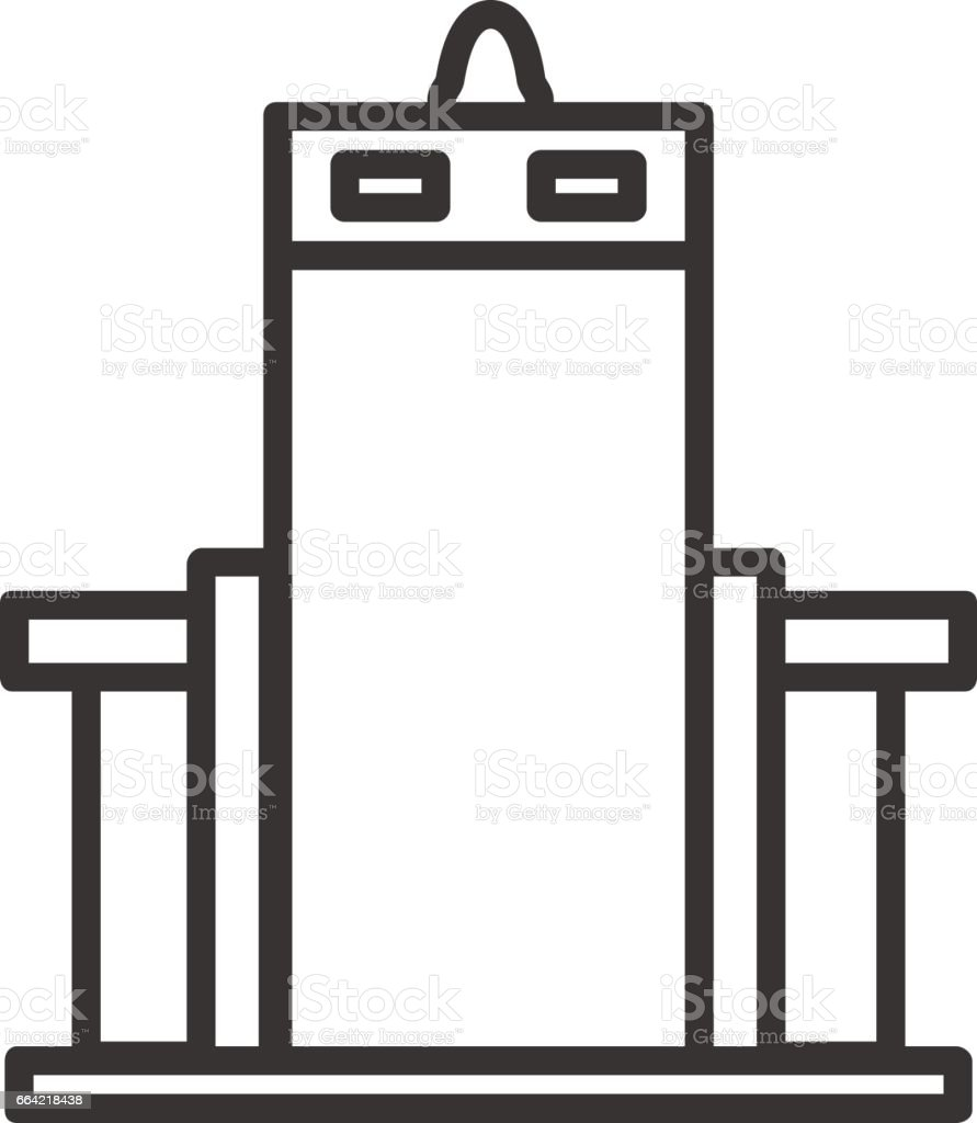 Metal scanner gate linear icon. Filming item thin line illustration. Vector isolated outline drawing. vector art illustration