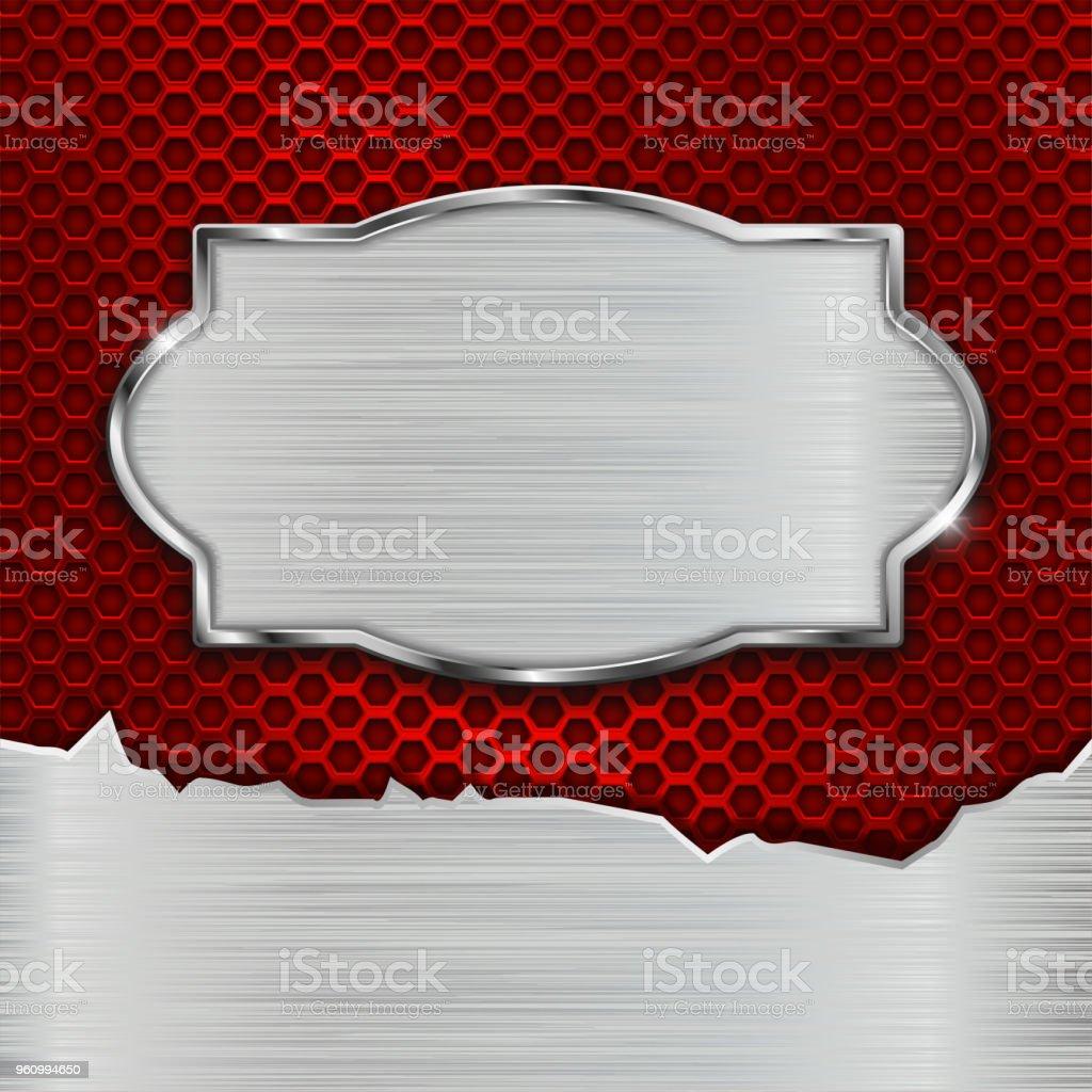 Zerkratzte Metallplatte auf perforierten roten Hintergrund - Lizenzfrei Abstrakt Vektorgrafik
