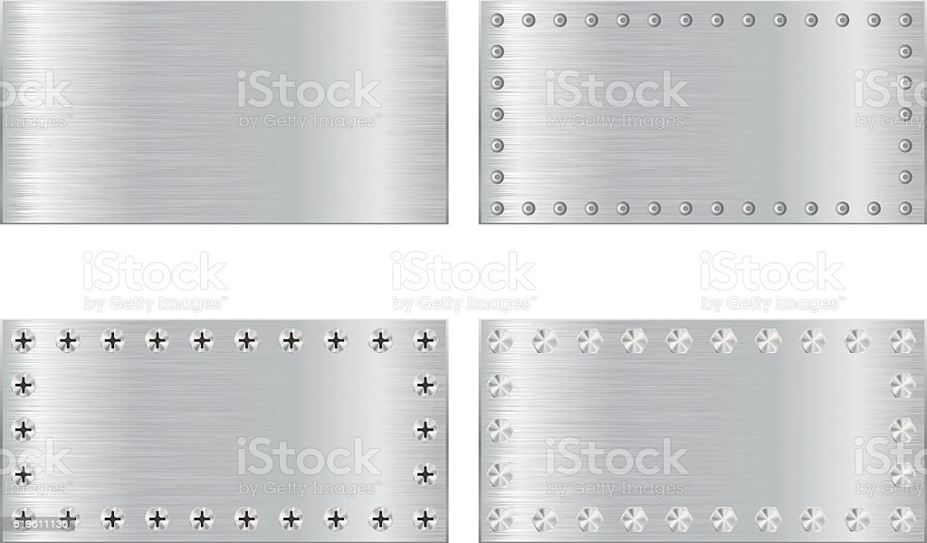 Metal scratched plate with screw head vector art illustration
