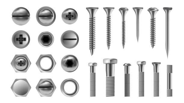 ilustrações, clipart, desenhos animados e ícones de parafuso de metal defina vetor. parafuso de aço inoxidável. ferramentas de reparo de hardware. ícones de cabeça. pregos, rebites, porcas. ilustração isolada realista - cabeça