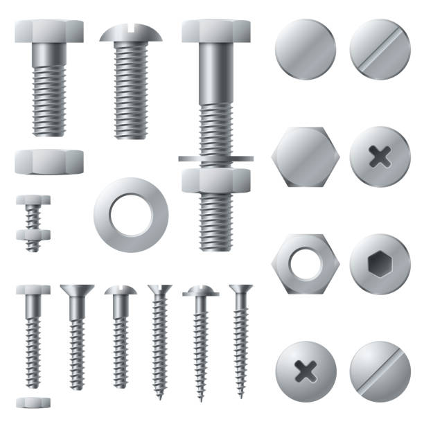 ilustrações de stock, clip art, desenhos animados e ícones de metal screws. bolt screw nut rivet head steel construction elements. realistic bolts isolated vector set - calçado com pitões