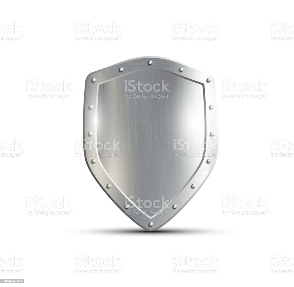 metal shield isolated on white background vector art illustration