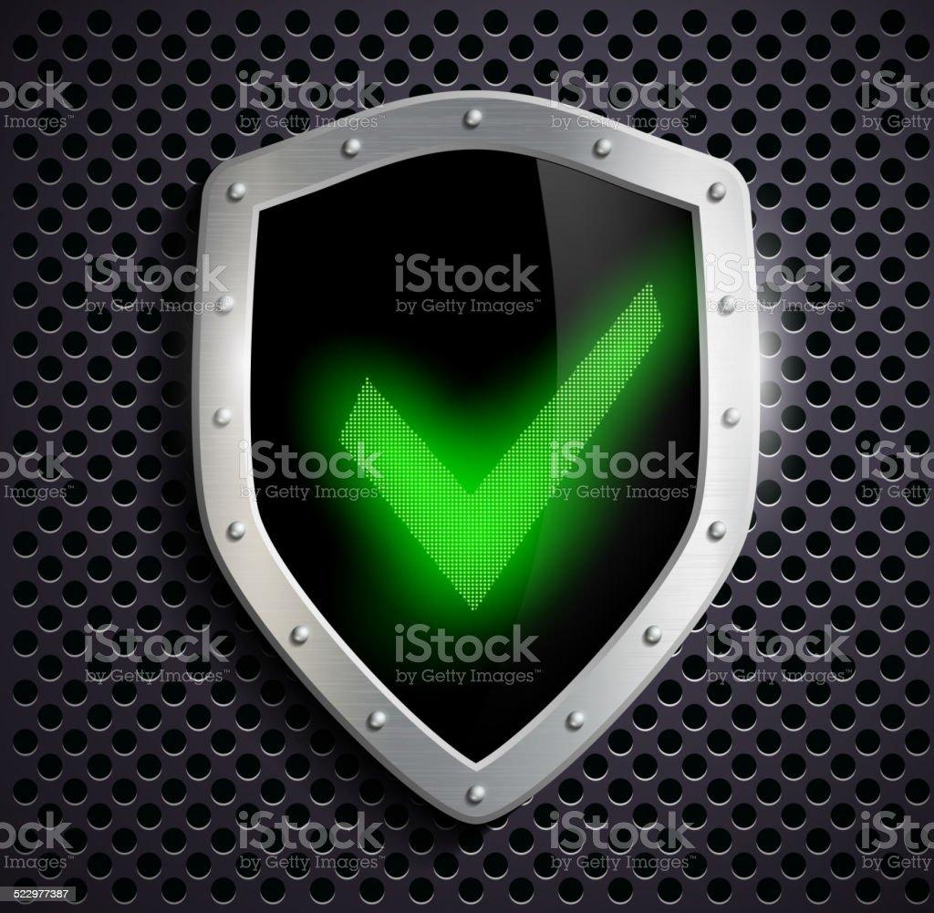 metal shield with green tick vector art illustration