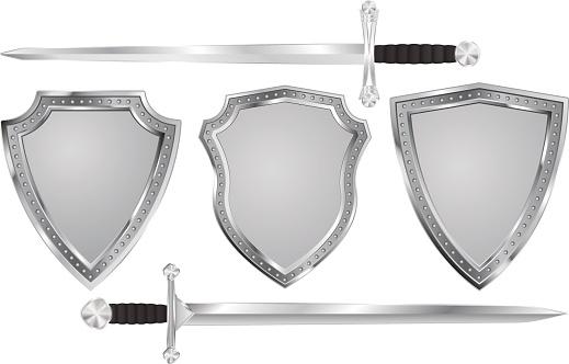 Metal shield with swords.