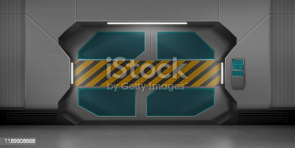 Futuristic metal sliding doors with warning striped tape. Vector realistic interior of empty hallway in spaceship. Closed gate with security code lock keypad and screen on the wall