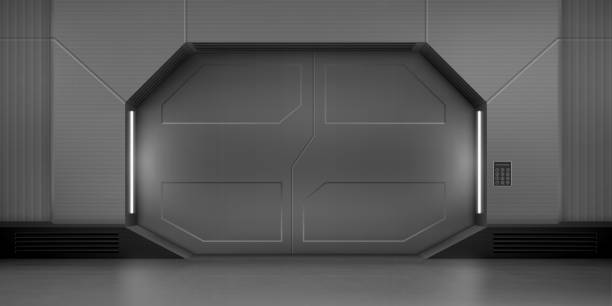 Metallschiebetüren im Raumschiff – Vektorgrafik