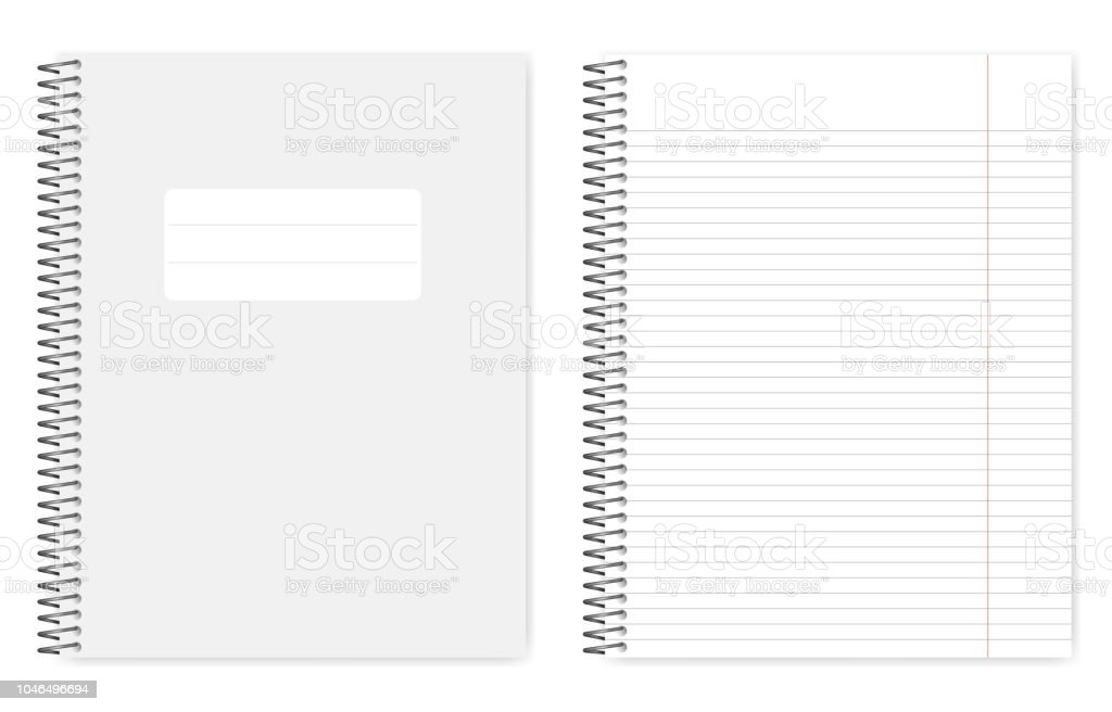 Metal Spiral Binding Lined Letter Format Notebook Realistic Mockup