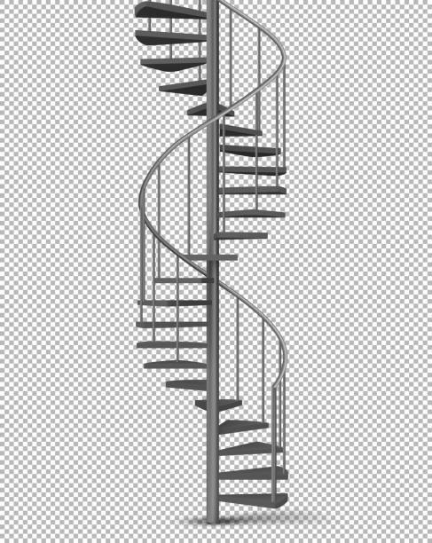 Metallspirale, Wendeltreppe realistischer Vektor – Vektorgrafik