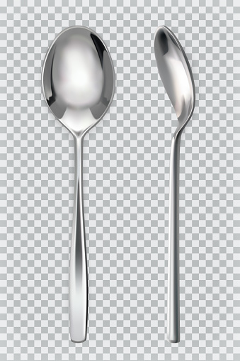 Metal spoons. 3d realism, vector icon