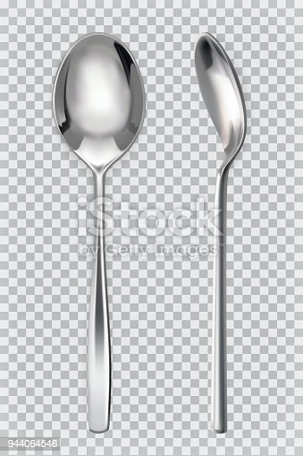 istock Metal spoons. 3d realism, vector icon 944064546