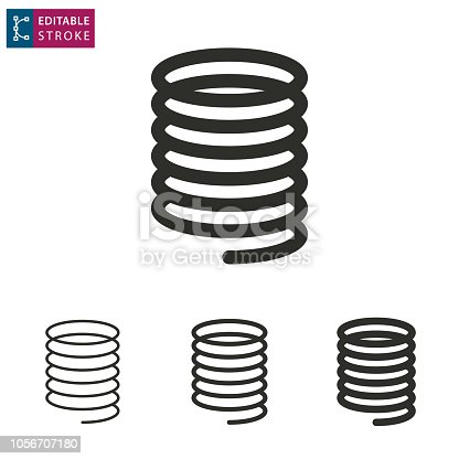 Metal spring icon on white background. Editable stroke. Vector illustration.