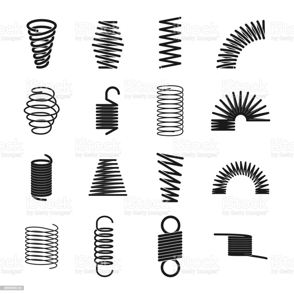 Metal spring icon vector art illustration