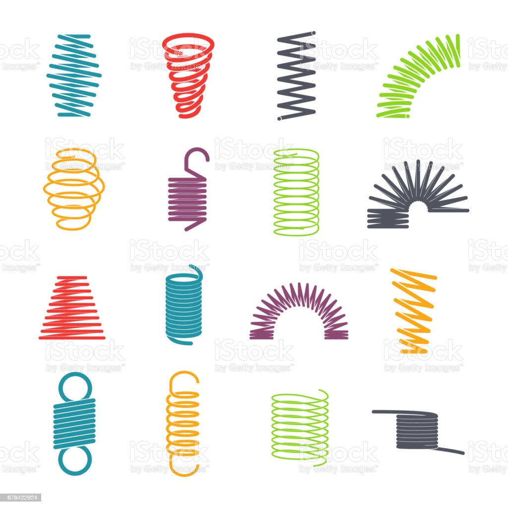 Metal spring set vector art illustration