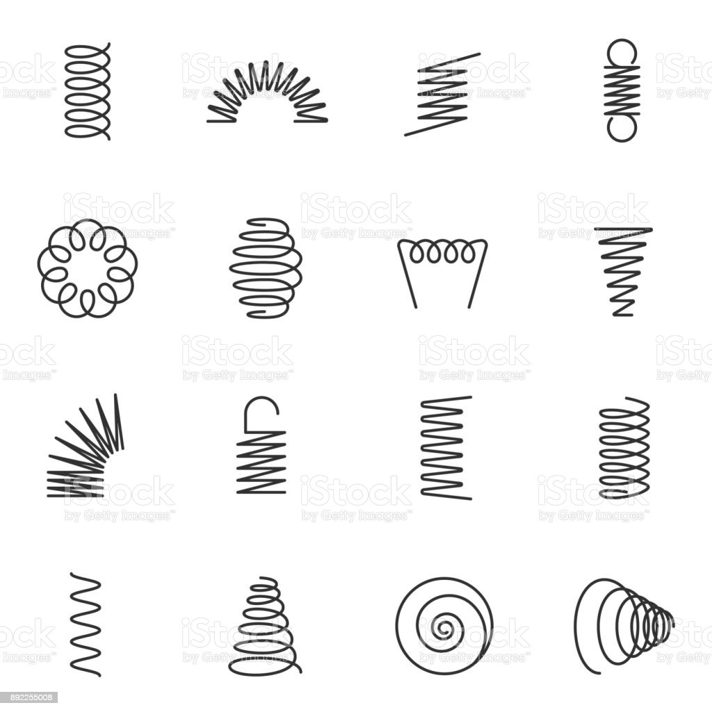 Metal springs icons set. Line with Editable stroke vector art illustration
