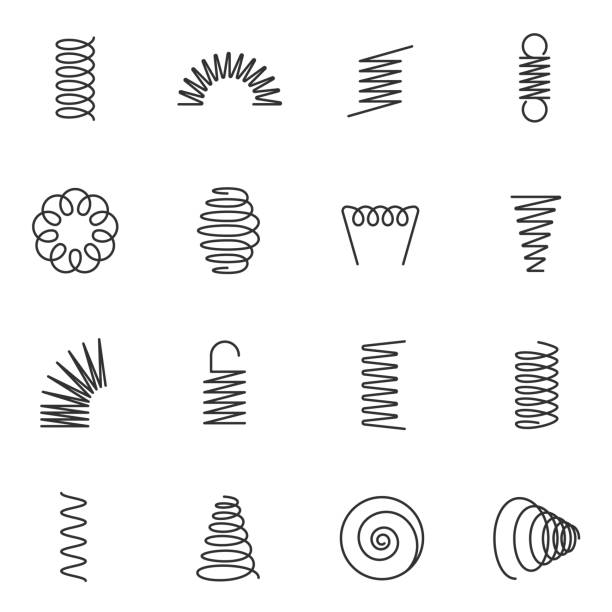 metal springs icons set. line with editable stroke - спираль stock illustrations