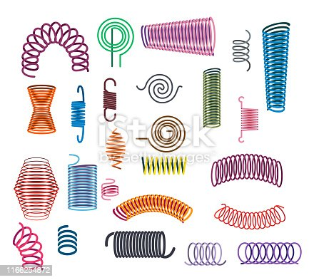 Metal springs set. Coil spirals, flexibly absorber, curved line. Equipment concept. Cartoon vector illustrations can be used for pressure, electric equipment, cable