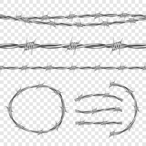 metal steel barbed wire with thorns or spikes - spiked stock illustrations