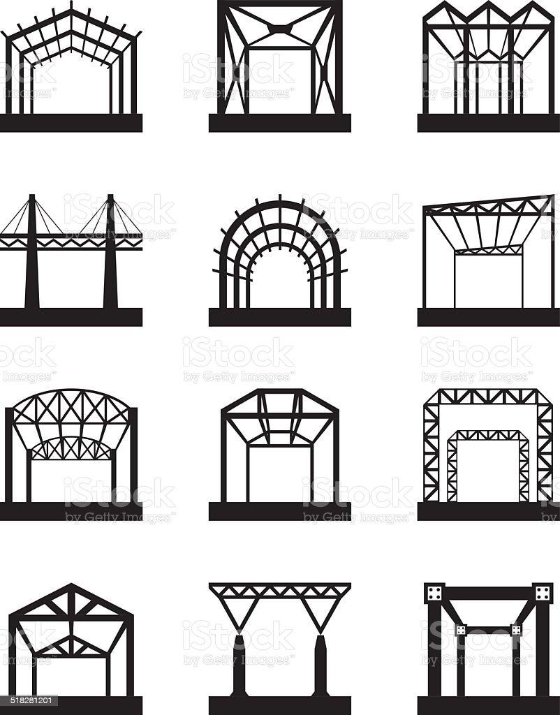 Ilustraci n de icono conjunto de estructuras de metal y m s banco de im genes de acero 518281201 - Estructuras de metal ...