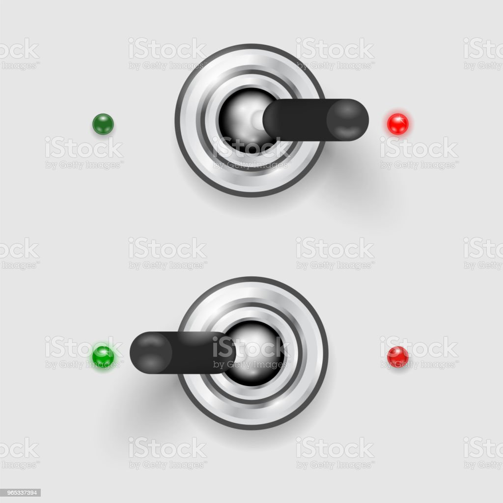 Metal switcher in two positions - ON-OFF concept royalty-free metal switcher in two positions onoff concept stock vector art & more images of black color