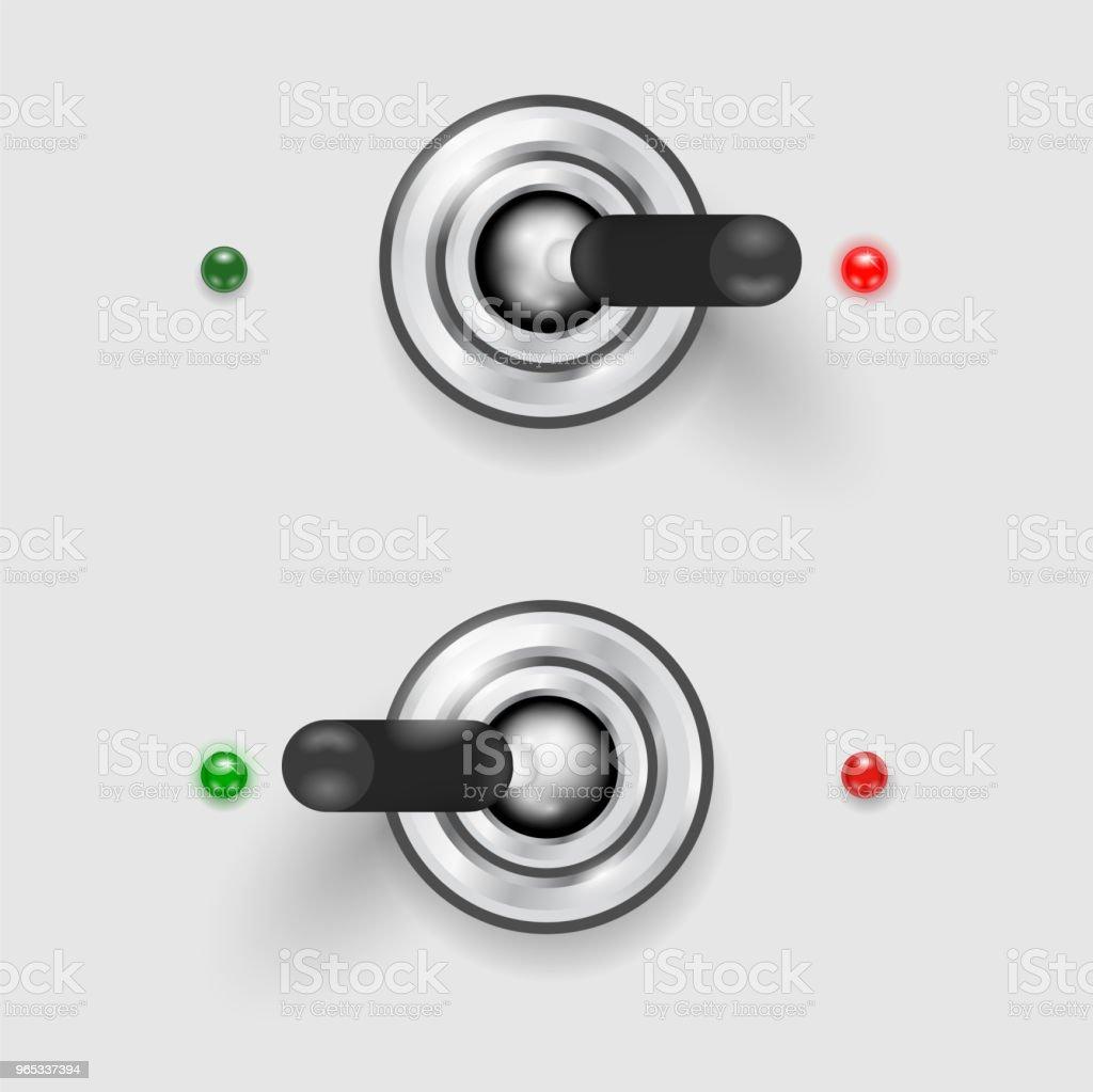 Metal switcher in two positions - ON-OFF concept metal switcher in two positions onoff concept - stockowe grafiki wektorowe i więcej obrazów błyszczący royalty-free