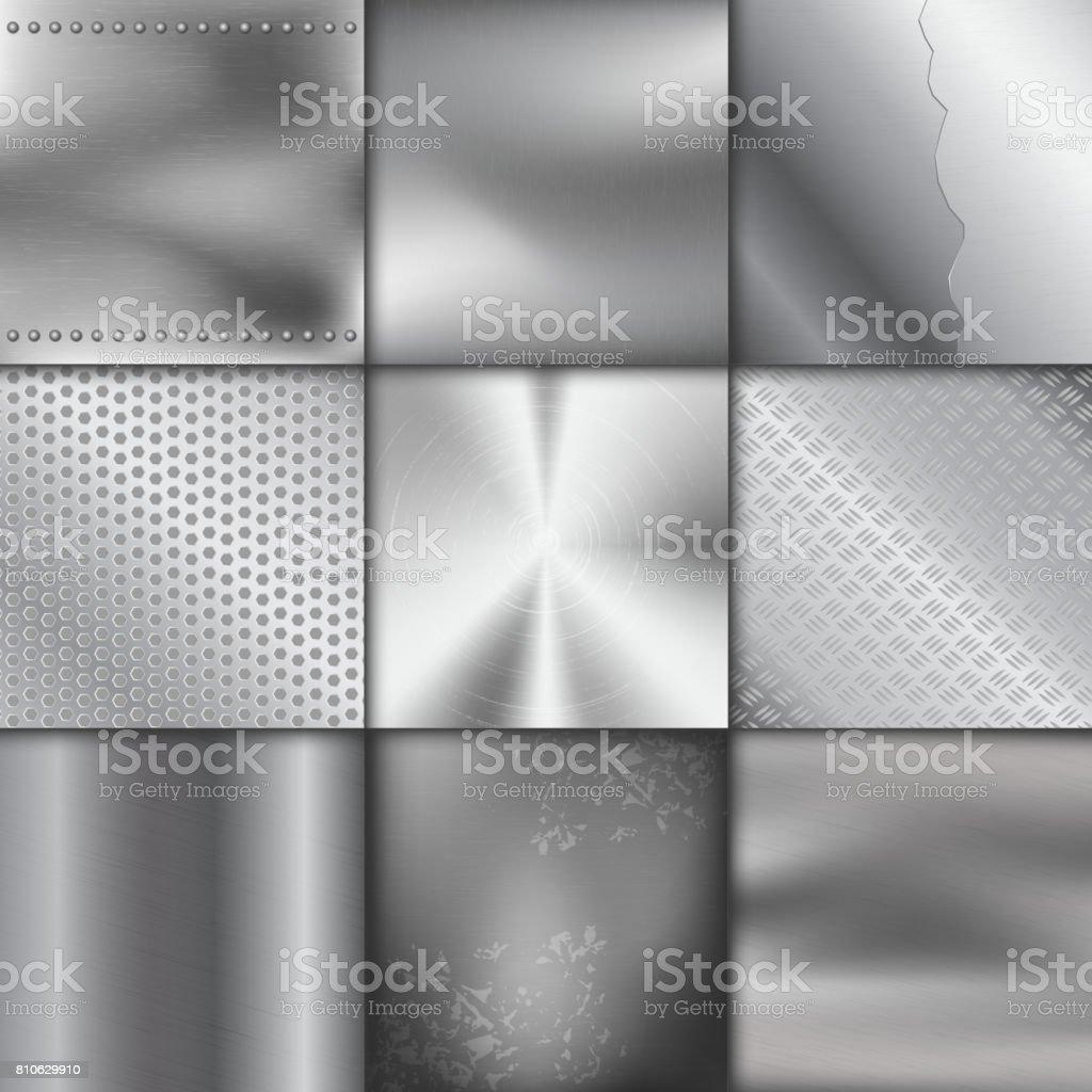 Textura de metal padrão fundo vector ilustração metálico brilhante efeito de fundo - Vetor de Abstrato royalty-free