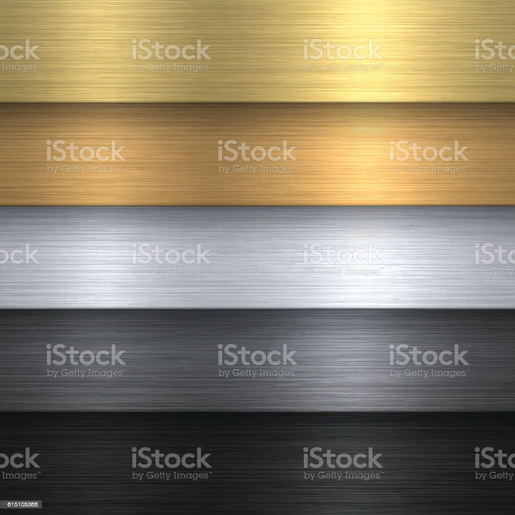 Metal Texture Set - Metallic Background vector art illustration