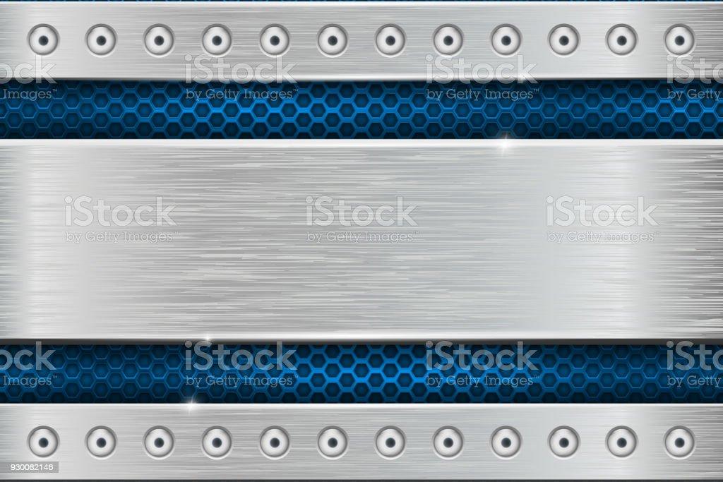 Textura de metal com chapa de ferro escovado com rebites e perfuração azul - ilustração de arte em vetor