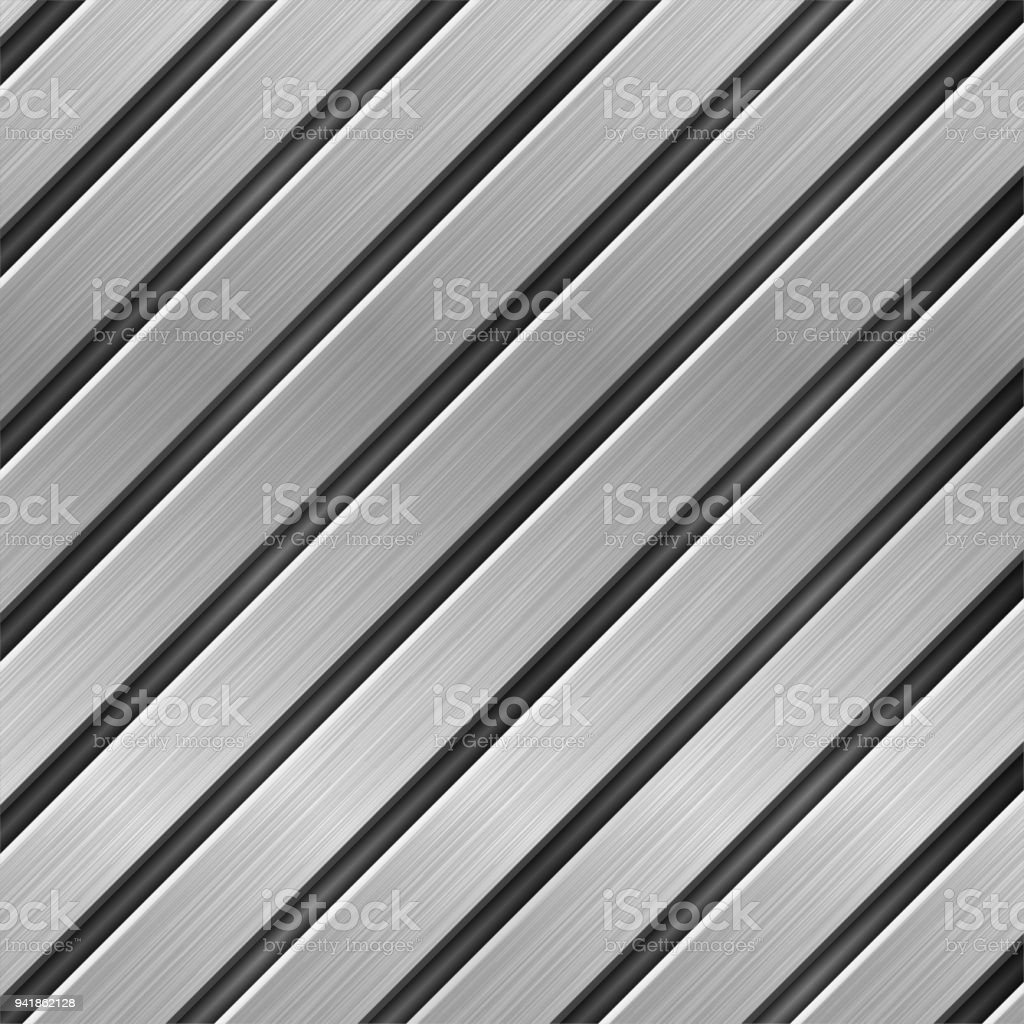 Metal texture with diagonal brushed planks vector art illustration