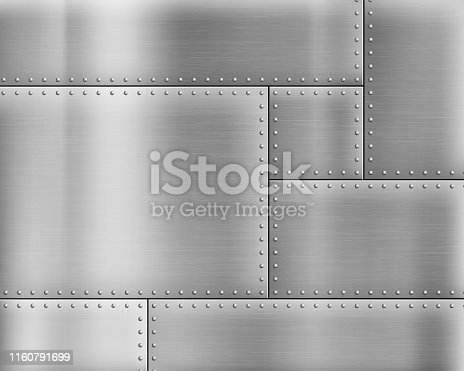 Metal textured background with rivets on the plates. Vector illustration.